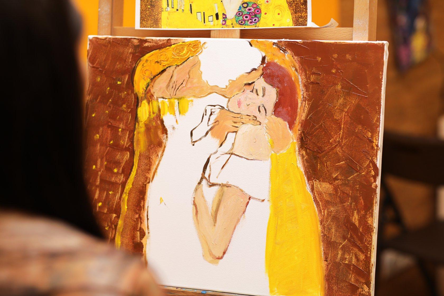 """Масляний живопис на тему """"Поцілунок"""" Густав Клімт - фото"""